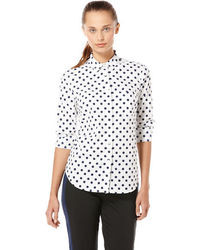 White and Navy Polka Dot Button Down Blouses for Women | Women's ...