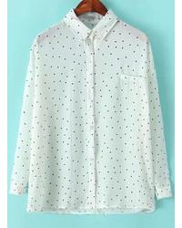 White and Navy Polka Dot Chiffon Dress Shirt