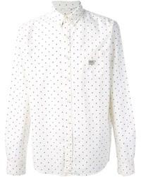 White and Navy Polka Dot Long Sleeve Shirt
