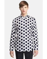 BURBERRY PRORSUM Dot Print Linen Shirt Bright Canvas Blue 41
