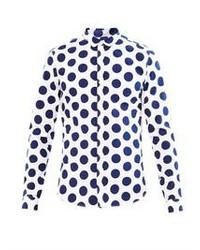BURBERRY PRORSUM Polka Dot Print Cotton Shirt