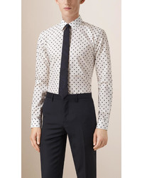 Slim fit polka dot cotton shirt medium 562748