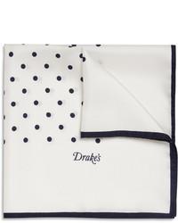Drakes polka dot silk pocket square medium 11507