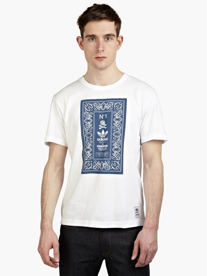 ... adidas Originals X Neighbourhood White Printed T Shirt ...