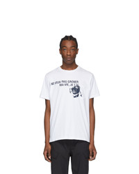 Engineered Garments White Printed Cross Crewneck T Shirt