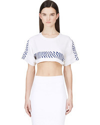Maiyet White Printed Cropped T Shirt