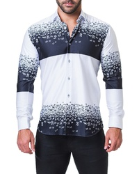 White and Navy Print Long Sleeve Shirt