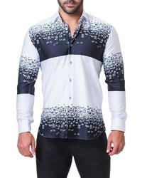 White and Navy Print Long Sleeve Shirt