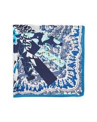 Etro Paisley Silk Pocket Square Navy One Size