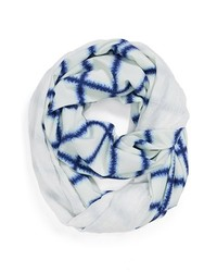 White and Navy Print Scarf