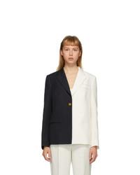 Partow White And Navy Silk Easton Bi Colored Blazer