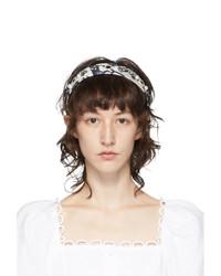 Erdem White And Navy Silk Frida Headband