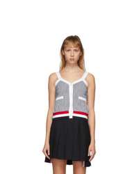 Thom Browne Navy And White Seersucker V Neck Tank Top