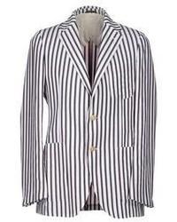 White and Navy Vertical Striped Blazer