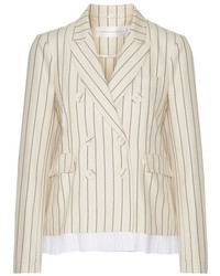 Victoria victoria beckham pleated striped wool and cotton blend blazer cream medium 1159927