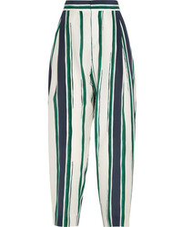 Chloé Cropped Striped Silk Crepe Tapered Pants