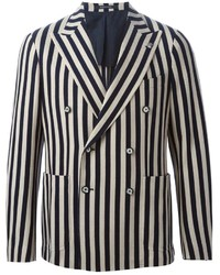 White and Navy Vertical Striped Double Breasted Blazer