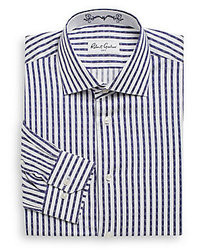 White and Navy Vertical Striped Dress Shirt