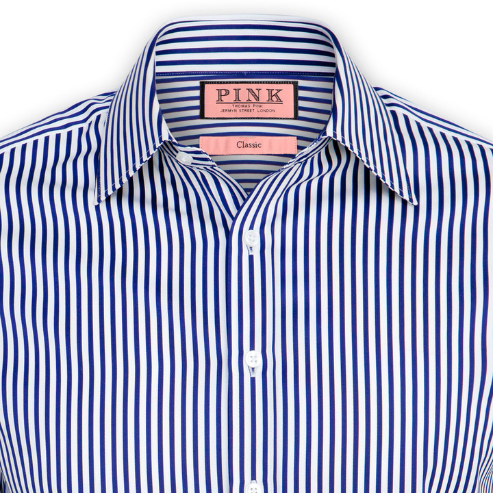 667dc3e8d3cb06 ... White and Navy Vertical Striped Dress Shirts Thomas Pink Algernon Stripe  Shirt Double Cuff ...