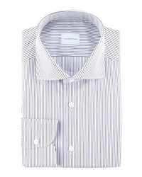 Ermenegildo Zegna Pencil Striped Dress Shirt Whitenavy