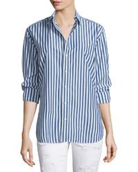 Jean button front striped boyfriend shirt navywhite stripe medium 462211