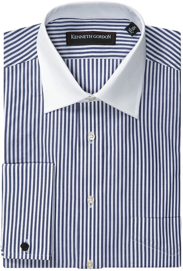 Mens black and white striped dress shirt with white collar