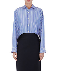 Balenciaga Pinched Collar Striped Poplin Blouse