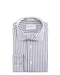 Robert Graham David Striped Jacquard Sport Shirt Navywhite