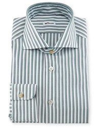 Rope striped woven dress shirt whitenavygreen medium 711103