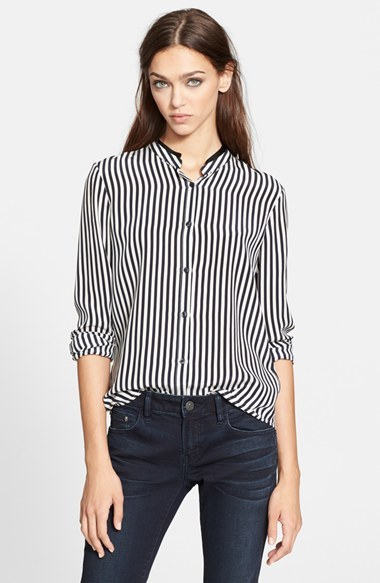 ... The Kooples Stripe Silk Blouse With Leather Trimmed Collar ...