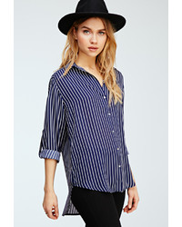 Forever 21 Striped Longline Collared Shirt
