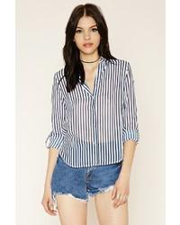 Forever 21 Striped Zip Back Shirt