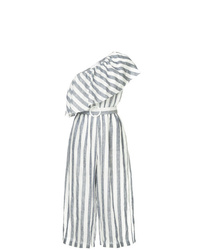 White and Navy Vertical Striped Jumpsuit