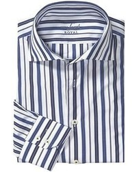 White and Navy Vertical Striped Long Sleeve Shirt