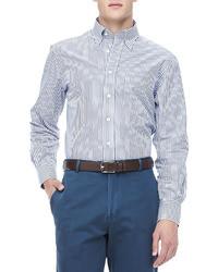Peter Millar Bengal Stripe Sport Shirt Navywhite