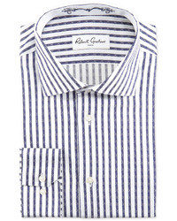Robert Graham David Striped Jacquard Dress Shirt Navywhite