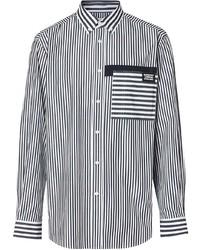 Burberry Logo Detail Contrast Stripe Cotton Shirt