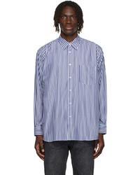 Comme Des Garcons SHIRT Navy White Poplin Forever Stripe Shirt