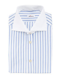 Kiton Shadow Striped Dress Shirt Blue