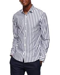 Topman Slim Fit Bengal Stripe Button Up Shirt