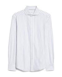 Brunello Cucinelli Stripe Slim Fit Long Sleeve Button Up Cotton Shirt