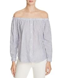 Birds of paradis off the shoulder stripe shirt 100 medium 1252936