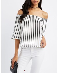 Charlotte Russe Striped Off The Shoulder Top