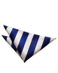 White and Navy Vertical Striped Pocket Square