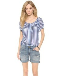 White and Navy Vertical Striped Short Sleeve Blouse