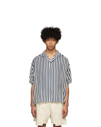 Kuro Blue And Off White Striped Shirt