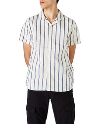 WAX LONDON Didcot Stripe Short Sleeve Button Up Camp Shirt