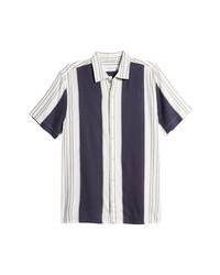 Topman Vertical Stripe Short Sleeve Button Up Shirt