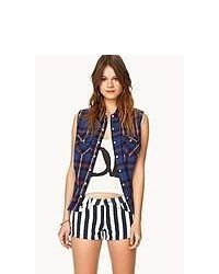 Forever 21 Bold Striped Denim Shorts