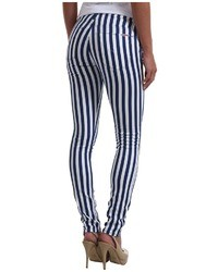 White and Navy Vertical Striped Skinny Jeans